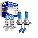 55w Super White Xenon High (main) / Low (dipped) / Side beam upgrade HeadLight Bulbs FIAT STILO 20V 10.01->