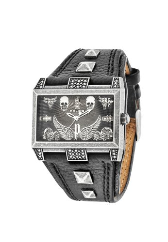 Police Elevation Men's Quartz Watch with Black Dial Analogue Display and Black Strap PL.13662JS/61