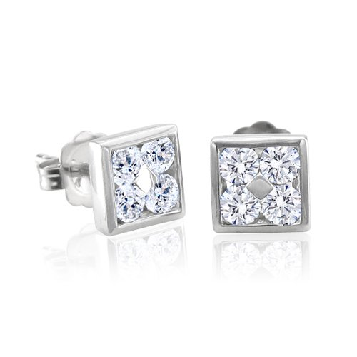 10k White Gold Square Diamond Earrings Studs (GH, I1-I2, 0.50carat) [Jewelry]