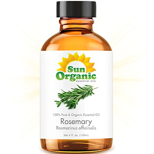 Rosemary - Large 4 Ounce - Organic, 100% Pure Essential Oil (Best 4 Fl Oz / 118Ml) - Sun Organic