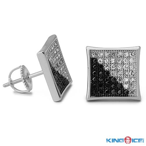 King Ice Silver Plated Two Face Swag Earrings