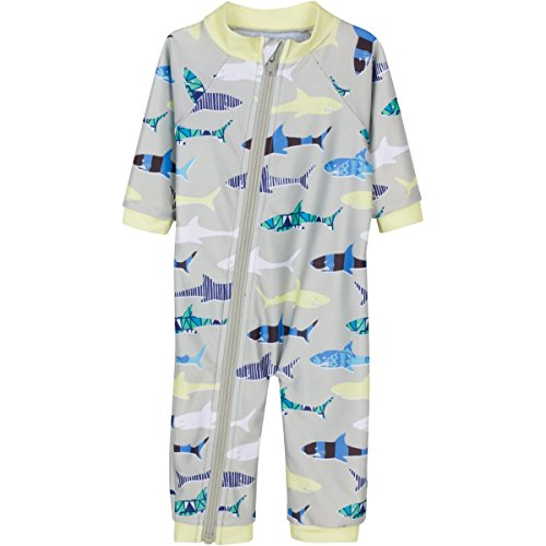 SwimZip® Little Boy Long Sleeve Sunsuit with UPF 50 Sun Protection Gray 18-24 Month