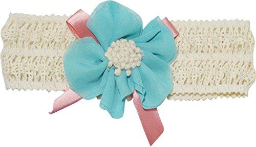 PinkXenia Elegant Blue lace and linen chiffon flower Newborn BabyGirl Soft headband