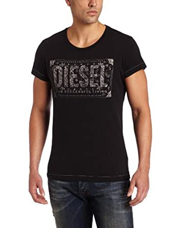 T-Shirt Diesel homme Nuente regular fit noir col rond 00CQJS