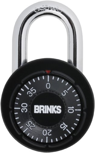 Brinks 164-49005 1-7/8-Inch 48mm Black Anodized Aluminium Dial Combination Padlock with Black Dial, 1-Pack (Dial Padlock compare prices)