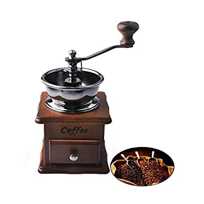 Lifebe KT Antique Mini Wooden Coffee Bean Spice Vintage Style hand grinder by Lifebe KT