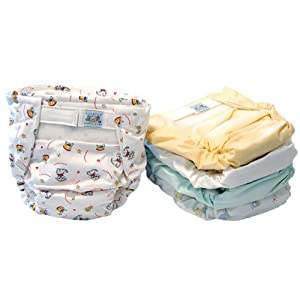 Kushies/Kooshies 5 Pack Reusable Ultra Diapers - Patented built in-flap for extra absorbency
