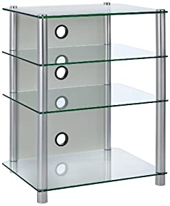 Vcm 16190 musino meuble hi fi en verre transparent amazon for Meuble chaine hifi en verre