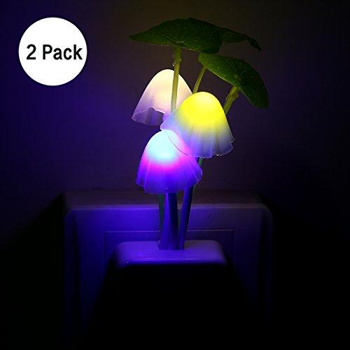 Kids Night light ,2PCS Led Plug In Nightlight for Kids Children ,Color Changing LED Sensor Mushroom Kitchen Bedside Wall Lights