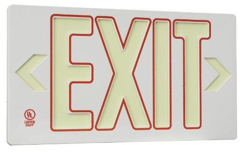 Glo Brite 7130-B Eco Exit Sign, Single Faced with Frame, White with Red Outline, 8.75-Inch by 15.375-Inch