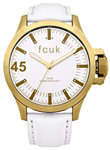 French Connection Men's Quartz Watch with White Dial Analogue Display and White Leather Strap FC1140WG