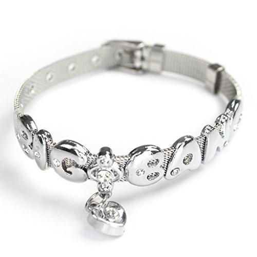 Fanstown Kpop accessories handmade titanium letter diamond heart wristband bracelet EXO Shinee BTS GOT7 (Cnblue Merchandise compare prices)