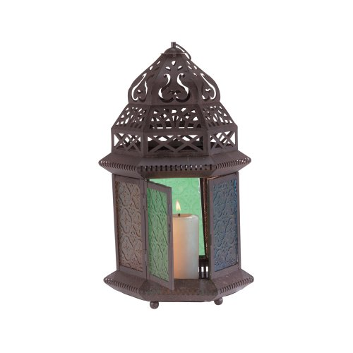 Gifts & Decor Moroccan Metal Color Glass Tabletop Lantern