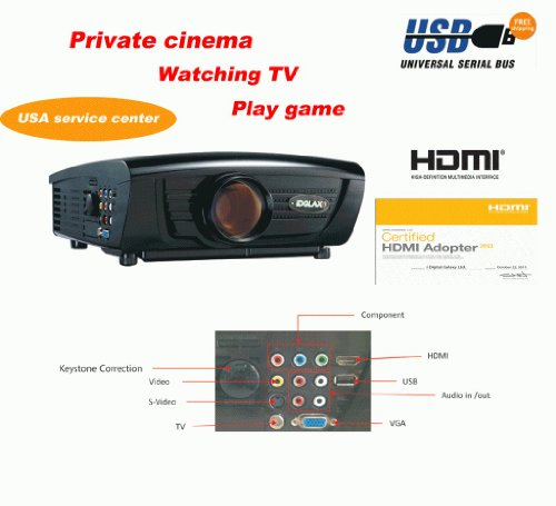 Digital Galaxy DG-757 DG757 LED 1080P Full HD Video Projector 720p 1280x768 with Build-in Tuner 1080i Support Home Theater Game TV LCD LED All in one projector (Update from DG-737 Newest Model) 2800 Lumens