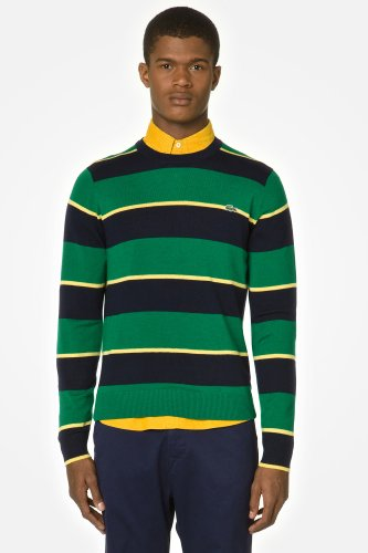 L!VE Stripe Wool Jersey Sweater With Elbow Contrast