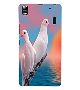 ColourCraft Beautiful Pigeons Design Back Case Cover for LENOVO A7000 TURBO