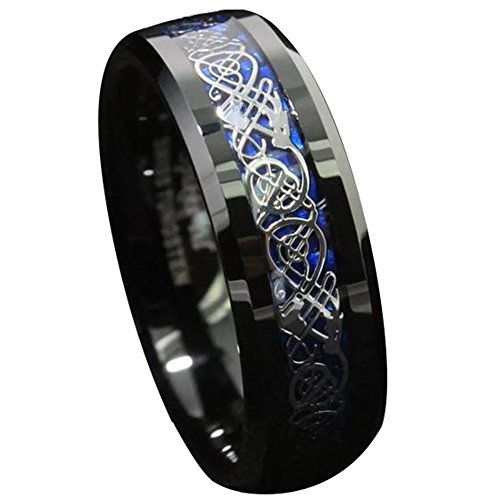 King Will Men's 8mm Blue Carbon Fiber Celtic Dragon Tungsten Carbide Ring Wedding Band(10)