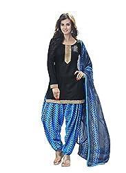 Suchi Fashion Black & Blue Printed Cotton Dress Material