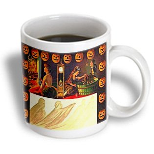 3Drose Vintage Halloween Jack O Lanterns And Ghost Ceramic Mug, 11-Ounce
