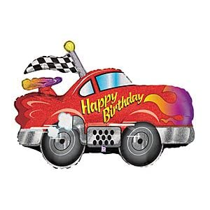 "Red Race Car Happy Birthday 34"" Mylar Balloon"