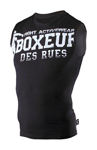 Boxeur Des Rues Fight Activewear Canotta Scollo Rotondo con Logo, Nero, M