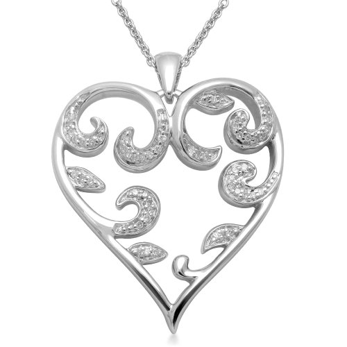 Sterling Silver Diamond Tendrils in Heart Pendant Necklace (1/6 cttw, I-J Color, I3 Clarity), 18