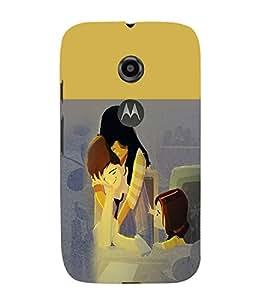 PrintVisa Cute Cartoon Family 3D Hard Polycarbonate Designer Back Case Cover for Motorola Moto E2