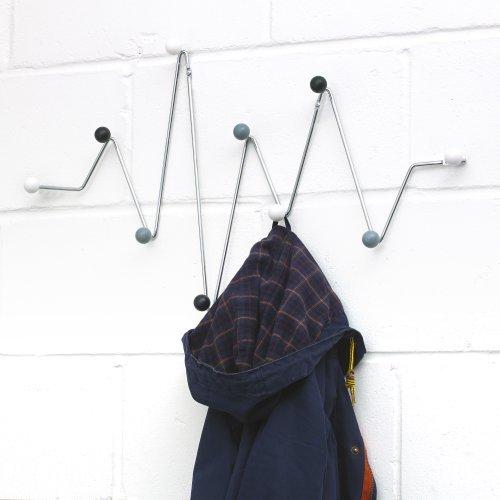 10 Hook Multi Coat Hook Rack Wall Mounted - Silver Grey Black White Heartbeat