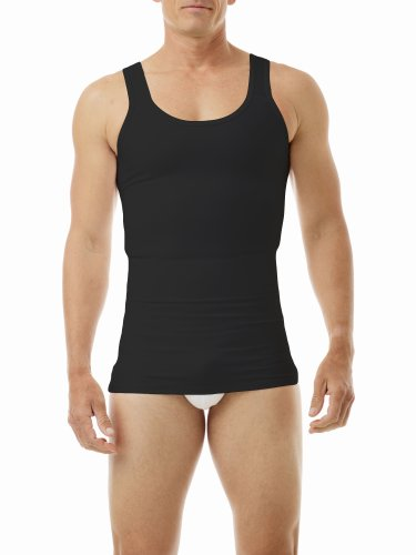 Underworks Mens Compression Body Shirt Girdle Gynecomastia Shirt Medium Black
