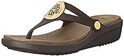 crocs Women\'s Sanrah Circle Sandal, Espresso/Walnut, 7 B(M) US
