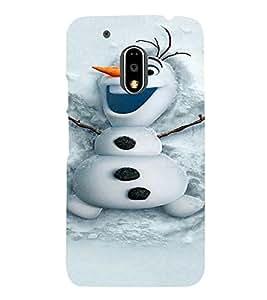 PrintVisa Cute Snowman Design 3D Hard Polycarbonate Designer Back Case Cover for Motorola Moto G4 PLAY