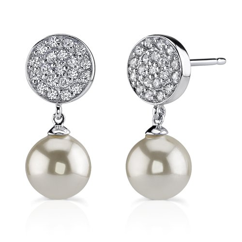 Sterling Silver Celebrity Style CZ Diamond and White Faux Pearls Earrings