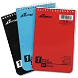Oxford Pocket Notebook, 4 X 6 Inches, Single Wire, Top Open, Assorted Covers, 3 Notebooks per Pack, Red/Blue/Green (45-094)