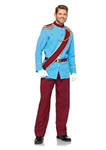 Leg Avenue Disney 4Pc.Prince Charming Jacket with Fringed Epaulettes Sash Belt Pants, Blue/Burgundy, Medium