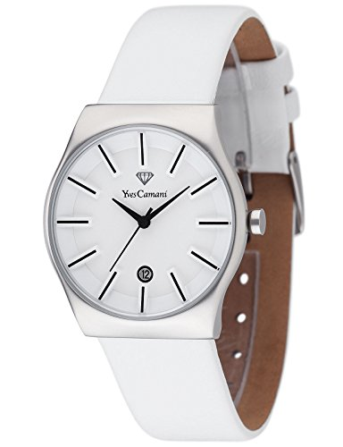 Yves Camani Louanne Women's Quartz Watch with White Dial Analogue Display and White Leather Bracelet Yc1079-E