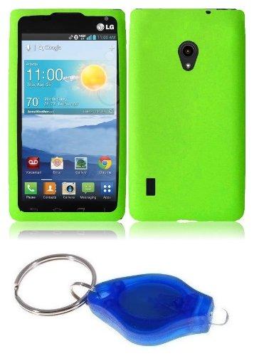 Neon Green Silicone Gel Cover + Atom Led Keychain Light For Lg Lucid 2 Vs870 (Verizon)