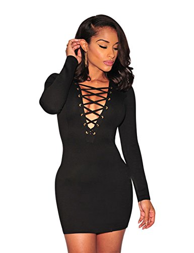 VillyDan Women Sexy Long Sleeve Autumn Warm Stretch Bodycon Party Dresses, Small, Black (Long Sleeve Mini Dress Sexy compare prices)