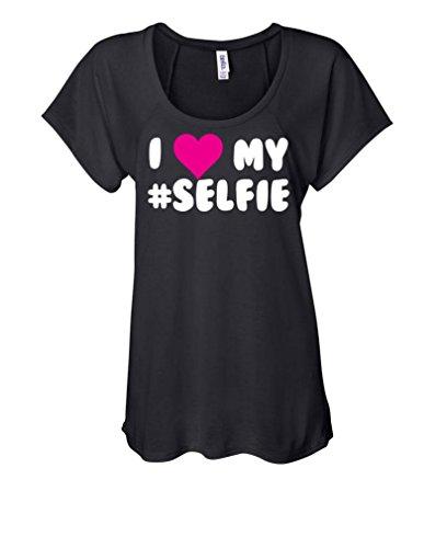 I Love My Selfie - Funny Meme Song Ladies Flowy Raglan, S, Black