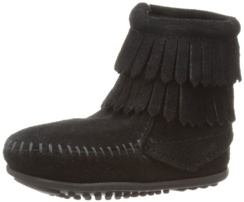 Minnetonka Double Fringe Boot (Toddler/Little Kid/Big Kid),Black,3 M US Little Kid