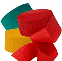 """[3 Set Multi Pack - Assorted] Crepe Paper Streamer Roll """"Bold Birthday Design"""" for Decoration and Craft Supply with 30' Ft / 9.1 M Length (Red, Yellow, and Green Colors) by mySimple Products"""
