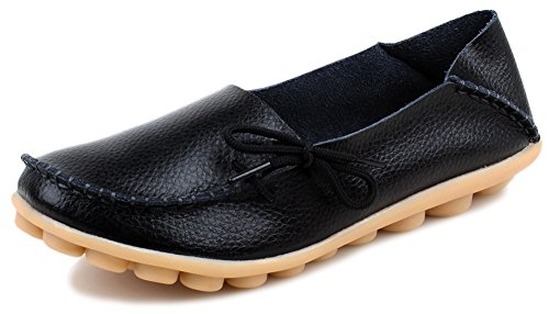 Kunsto Women's Leather Casual Loafer Shoes US Size 8.5 Black