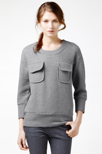 3/4 Sleeve Chest Pocket Quilted Sweatshirt