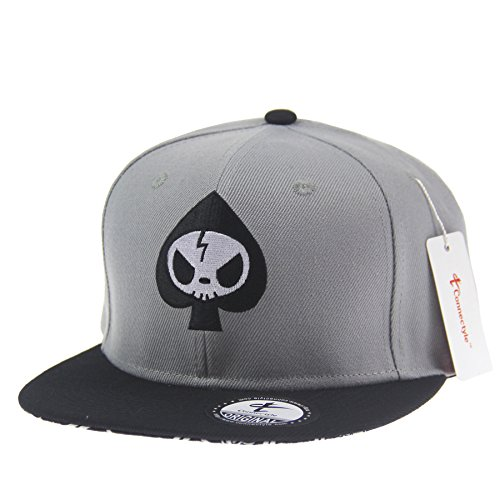 Connectyle Mens Skull Embroidery Fitted Flat Bill Hats Cool Snapback Hip Hop Cap, Medium, Grey (Cool Snapbacks compare prices)