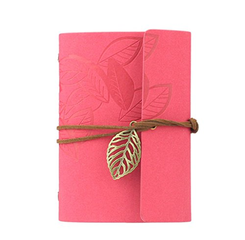 Tosangn Leaf Leather Retro Traveller Journal Blank Diary Loose Notebook (Hot Pink) (Hot Pink Journal compare prices)