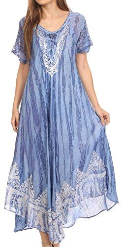 sakkas-16601-ronny-robe-caftan-robe-de-plage-mancherons-brodee-dentelle-lavage-tie-dye-bleu-ciel-os