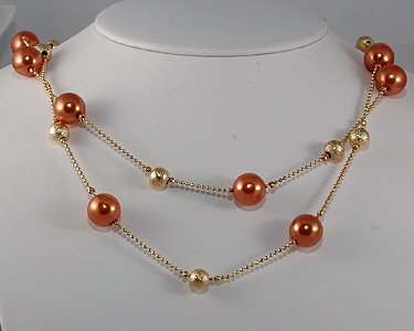 Double Row Soft Copper Pearl and Gold Bead Necklace (brown)