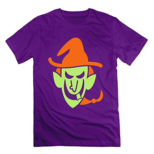 Men's Halloween Witch Short Sleeve T-Shirt Purple L (Cartman Voice Changer)