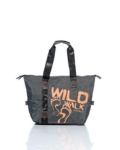 H.Due.O Shopper Wild Walk grigio- arancio