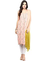 Nandini's Pink Lucknawi Chikan Flowy Cotton Hand Embroidered Dress Material/ Unstitched Salwaar Kameez with Pure Chiffon Dupatta by SHENARO Lifestyle