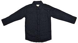 Zedd Boys' Cotton Shirt (E-C Zks1071A_16, Black, 16)